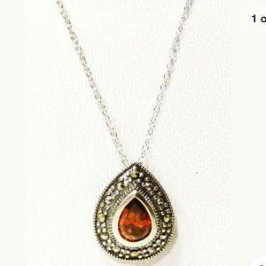 Jewelry - Sterling Silver Teardrop Marcasite Pendan Necklace